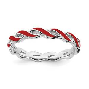 925-Sterling-Silver-Rhodium-Plated-Red-Enamel-Twisted-Stackable-Ring-Sz-5-10