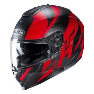 NEU-HJC-Helm-C70-Boltas-schwarz-rot-matt-Gr-L-59-60-mit-Sonnenblende