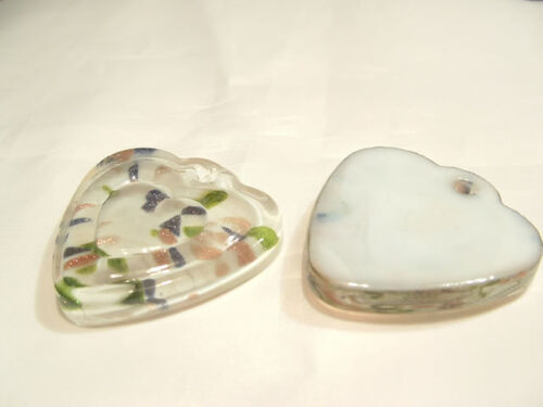 1 x Foil Lined LARGE Glass Pendant BNFP30 Heart