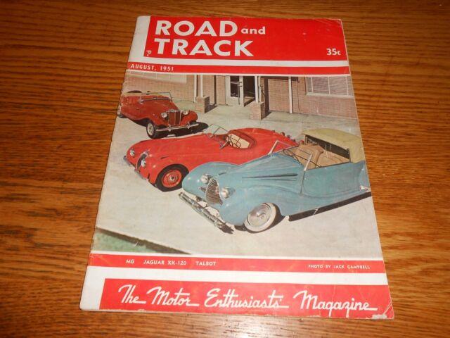 AUGUST 1951 ROAD & TRACK ORIGINAL AUG. 51 MAGAZINE Vol. 3 No. 1, NO BACK COVER