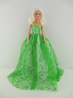 White Strapless Ball Gown with Little Green Flowers Made to Fit Barbie Doll