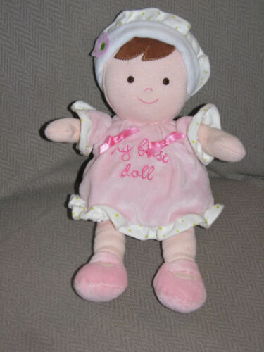 CARTERS MY FIRST BABY DOLL BROWN HAIR EYE FLOWER PINK GREEN WHITE DOT RATTLE