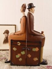 Zwei Art Deco Buchstützen Buchständer 20er Jahre Stil Vintage Figuren Mann  Frau