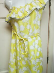 Yellow-Floral-Print-One-Shoulder-Dress-by-Mud-Pie-Size-Large-NWT