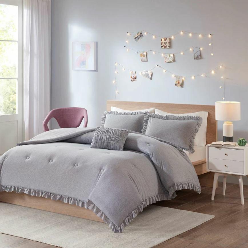 Intelligent Design 4 Piece Full Queen Size Stacey Jersey Knit Comforter Set Grey