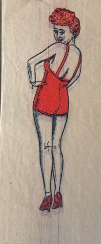 Vintage Antique 1944 Pin-Up Girls Mini Iron On Tra