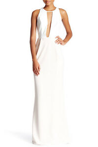 NEW-ABS-by-Allen-Schwartz-Two-Tone-Cutout-Maxi-GOWN-Sz-XS-360-IVORY-PETAL-PINK