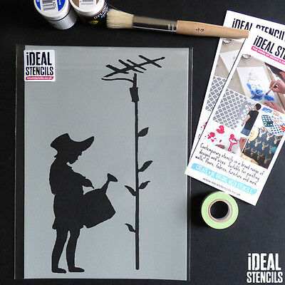 Banksy Stencils Girl Watering Aerial Decor Art Reusable Graffiti replica stencil