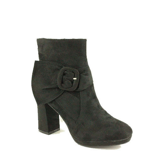 WOMENS CASUAL HIGH BLOCK HEEL BUCKLE FASHION ANKLE BOOTS LADIES SHOES SIZE 3-8
