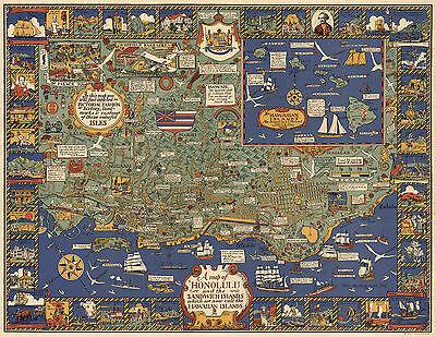 1921 Pictorial Map Honolulu Sandwich Islands Hawaiian Hawaii Poster Wall Art