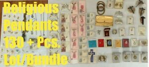 Vintage-Santos-Colgantes-Liturgico-Cruz-Medallas-Mezclado-Joyeria-130-Pcs-Lote