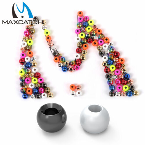 Maxcatch 25pcs//lot Fly Tying Beads Tungsten Fly Fishing Nymph Head Ball Beads