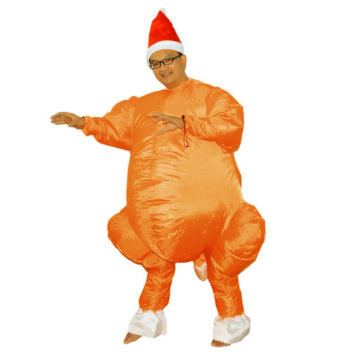 Inflatable Turkey Costume Santa Hat Adult Funny Christmas Fancy Dress Outfit