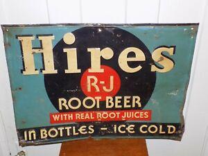 Vintage Hires Root Beer Metal Embossed Sign