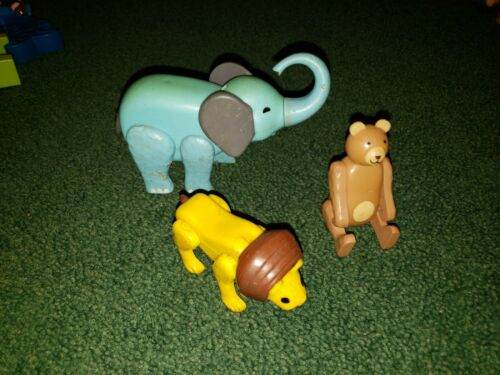 H VINTAGE FISHER PRICE LITTLE PEOPLE CIRCUS ZOO LION ELEPHANT BEAR