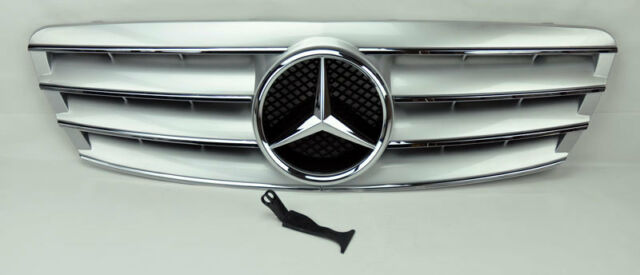 4 Fence Front Hood Sport Silver Grill Grille for Mercedes C Class W203 4Dr 01-07