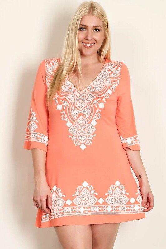 BNWT Evoke Peach And White Midi Dress Sizes 14 XL to 18 XXXL CURVED BY NATURE
