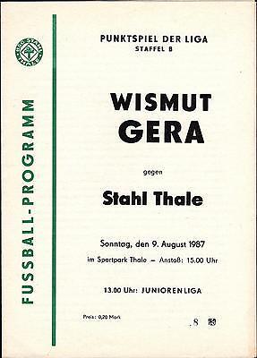 Stahl Thale Programm DDR Liga 1988//89 BSG Wismut Gera