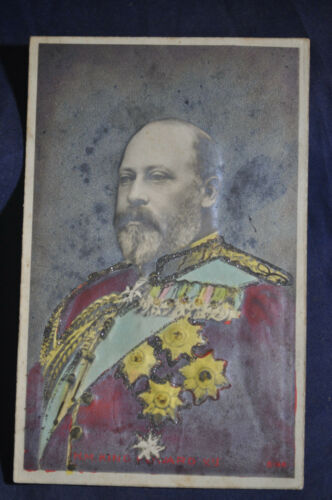 1909 RPPC HM King Edward Canadian Souvenir Postcard, Embossed, Glitter H Painted
