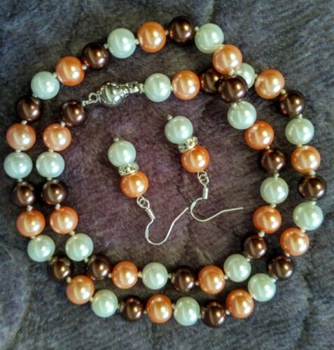 Boucle D/'Oreille Set 8 mm multicolor South Sea Shell collier de perles AAA 18 pouces Bracelet