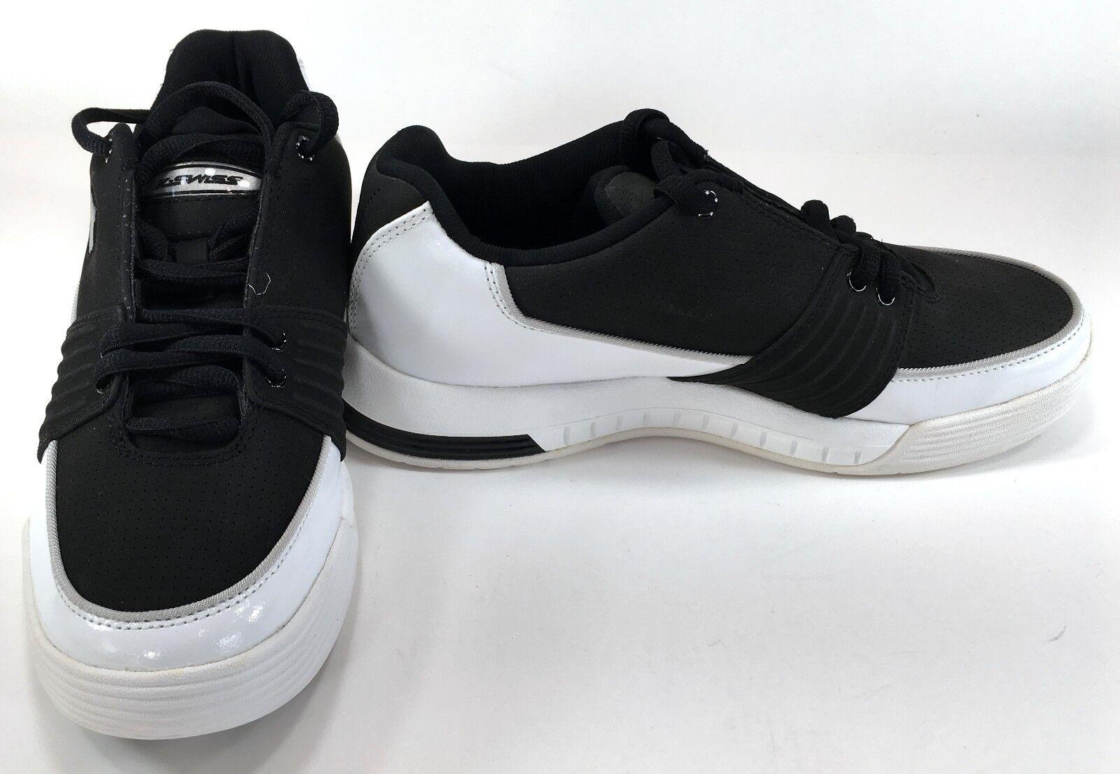 K-Swiss shoes Elwyn Leather Suede White Black Sneakers Size Mens 8 Womens 10
