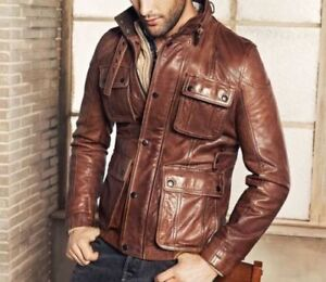 Homme-Motard-Vintage-Antique-Brown-Cafe-Racer-Cuir-Veritable-Veste