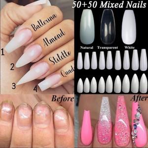 100Pcs-Set-False-Nails-Art-Tips-Polish-Natural-French-Full-Half-Cover-Manicure