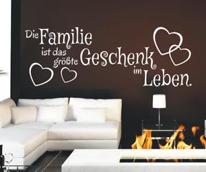 X4519-Wandtattoo-Spruch-Die-Familie-ist-Geschenk-Sticker-Wandaufkleber-Aufkleber