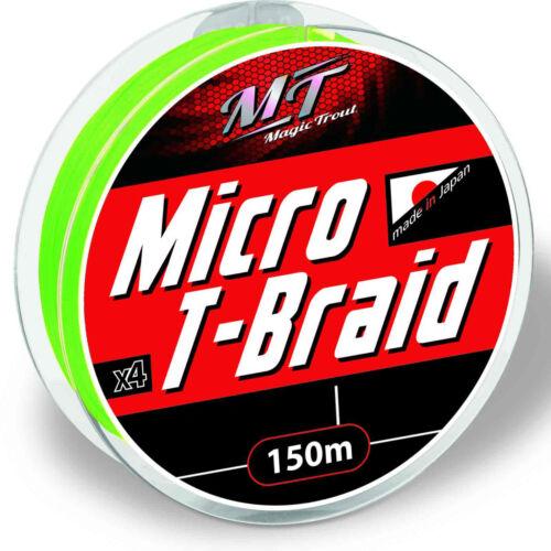 0,26EUR//m Magic Trout geflochtene Angelschnur Micro T-Braid 150m grün 0,0