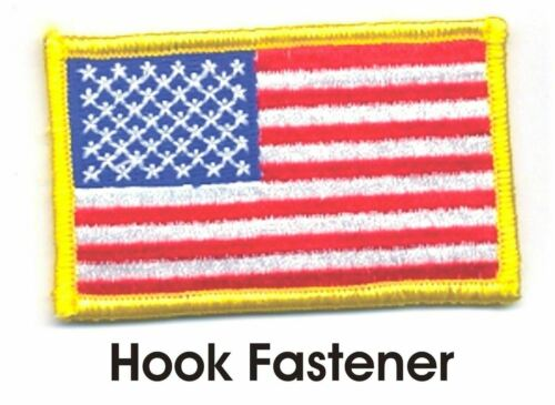 """2/"""" x 3/"""" United States US Color Flag Patch VELCRO® BRAND Hook Fastener Compatible"""
