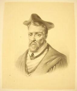 Charmant Lithographie Attribuée à J-b Mauzaisse : Louis Ii De Lorraine Cardinal De Guise Soulager Le Rhumatisme Et Le Froid