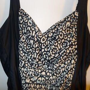 813face77cd AVA VIV Bathing suit sz 24w * Black and White Plus Size Swim * One ...