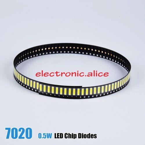 500PCS//Lot 7020 SMD LED Perlas 3 V 0.5 W 150 mA Fría Blanco 10000-13000K para TV de vuelta