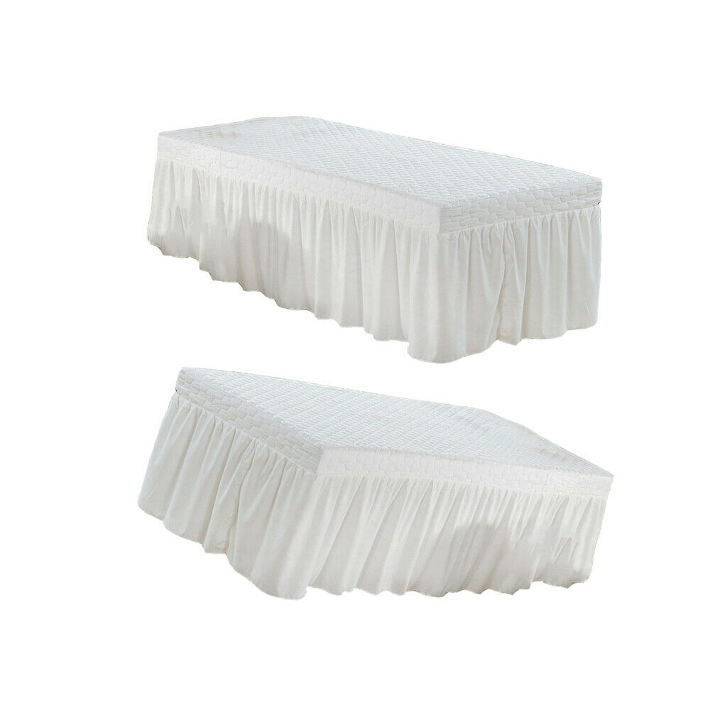 MagiDeal 2Pcs White 75x32  Microfiber Beauty Massage Table Skirt Bed Cover