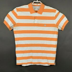 Brooks-Brothers-346-Mens-Slim-Fit-Orange-Striped-Short-Sleeve-Polo-Shirt-Size-L