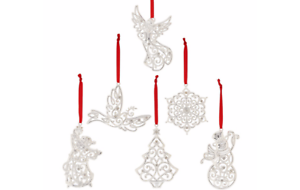 NEW in Box Lenox 6 PC Set Silver Plated Sparkle /& Scroll 6 Christmas Ornament s