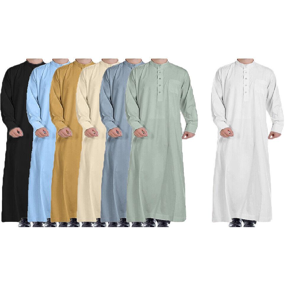Luxury Colour Uae SAUDI Thobe Jubba Mens Ramadan Eid Umrah Hajj Islamic Gift