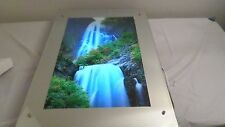 Large Mirror Moving Waterfall Lighted Motion w/ Water & Bird Sound Picture