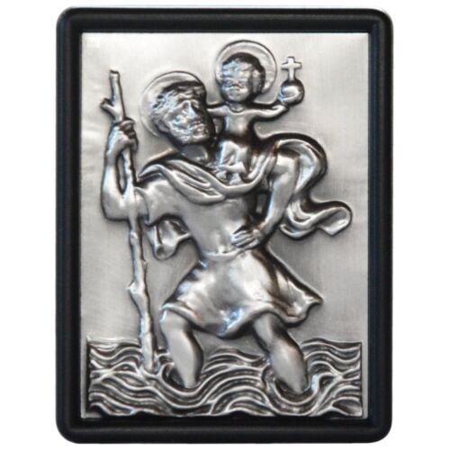 Heiliger Sankt St. Christophorus 3D Relief Schild 74 x 56 mm zum festschrauben
