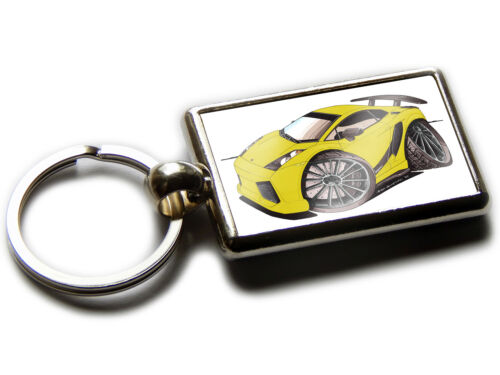 LAMBORGHINI GALLARDO Front Sports Car Koolart Chrome Keyring Picture Both Sides
