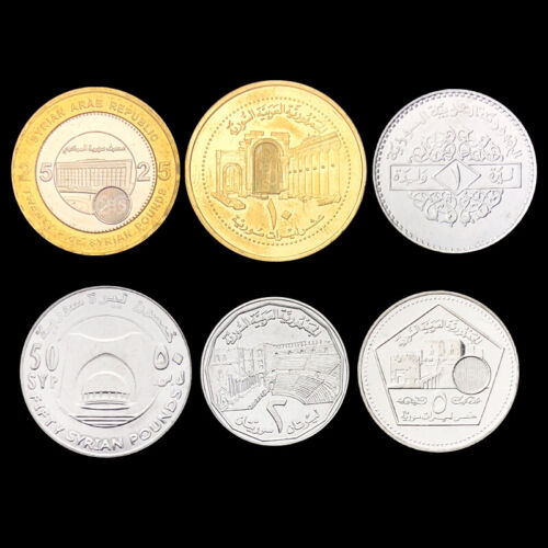 Asian-Sy set 6 Coins UNC X-2 1 2 5 10 25 50 Pounds