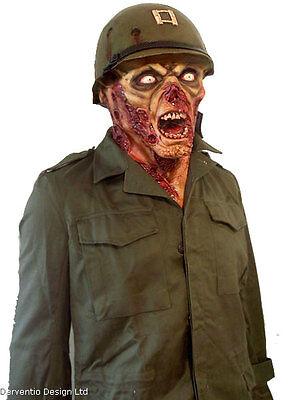 MENS US ZOMBIE SOLDIER LATEX MASK & HELMET SCARY HORROR FILM TV HALLOWEEN NEW