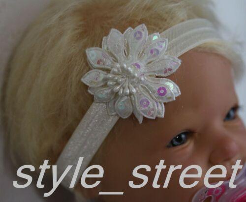 Baby Stirnband Glitzer Blüte Blume Mädchen Haarband Taufe Geburtstag