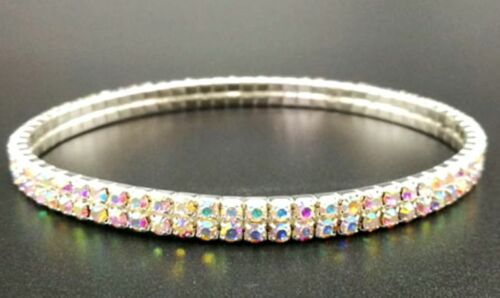 Details about  /Elasticated Ankle Bracelet Stretchy 1 2 Rows Anklet Chain Diamante Rhinestones
