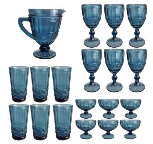 Vintage verre de vin verre boucle vin glace eau wasserkug Bleu