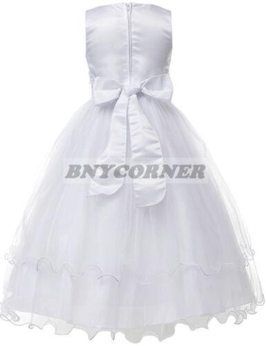 New Ivory Layered Lace First Holy Communion Flower Girl Dress Wedding Baptism