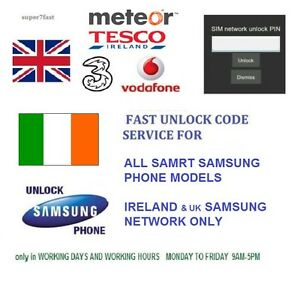 Unlock Code For Samsung Galaxy J1 S5 S6 S7 Edge Ireland Vodafone Three Network Ebay
