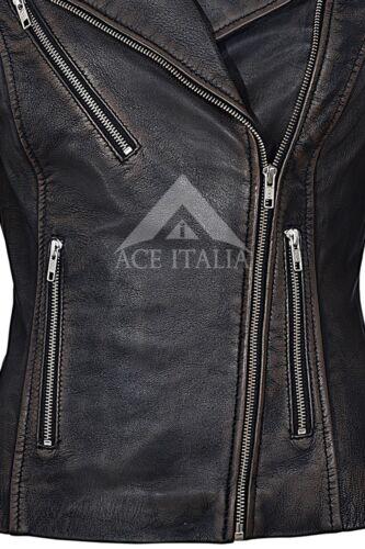 Ladies Leather Jacket Black Bronze Stylish Fashion Designer REAL NAPA JACKET