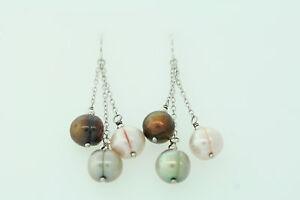 9mm Genuine Green, Pink & Brown Freshwater Pearl Sterling Dangle Earrings