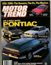 Motor Trend Magazine Aug 1985 On A Roll With Pontiac 86 Models Cover